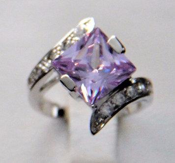WR124 Sterling Silver Light Purple CZ Rhodium Ring