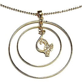 NP108 Double Hoop Crystal Babyphat Cat 14K Gold EP Necklace Pendant