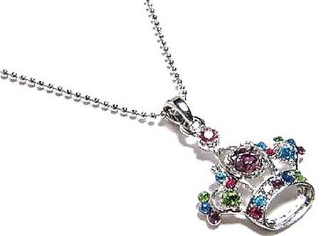 NP38 Multi Color Crystal Crown Rhodium Pendant Necklace