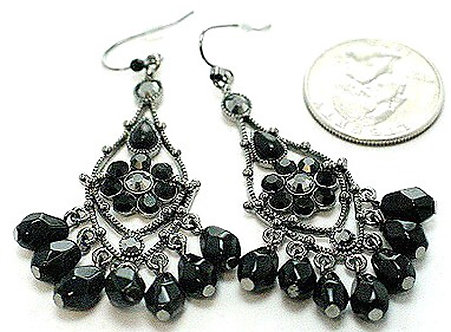 EA45 Exquisite Black Crystal Antique Silver Chandelier Earrings