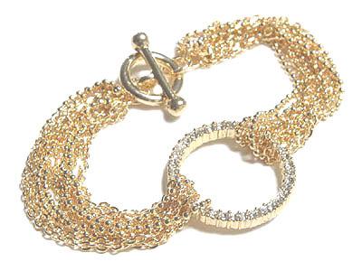 BR06 Multichain Crystal Ring Gold Celebrity Style Bracelet