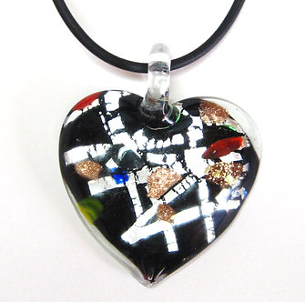 NP124 Black Murano Glass Heart Pendant Necklace