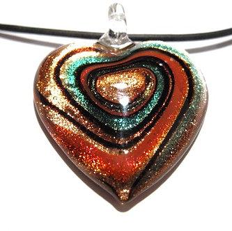 NP122 Murano Glass Copper Orange Swirl Heart Pendant Necklace
