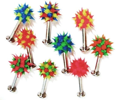 BJ128 Lot of 3 Assorted Colors Koosh Ball Labret, 14G