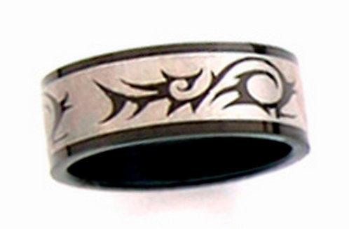 SSR09 - 8mm Black Titanium Tribal Band Ring