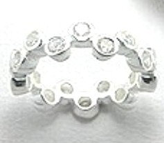 WR111 Sterling Silver Clear CZ Bubble Eternity Ring