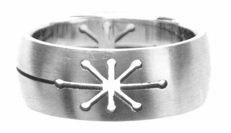 SSR44 Laser Cut Star Stainless Steel Ring