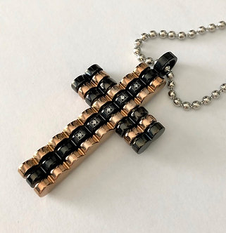 SSP7142 Black & Copper Stainless Steel CZ Cross Pendant with SS Ball Chain