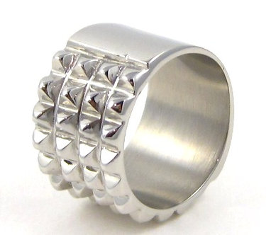 SSR4451 - 14mm Unisex Spike Stainless Steel Bikers Ring