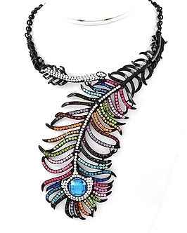 NP1130 Multi-Color Crystal Paved Black Leaf Chunky Choker Necklace