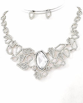 NP1111 Exquisite Abstract Clear CZ Rhodium Necklace Set