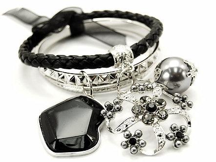 BR78 Leather Crystal Flower Lucite Bead Chunky Charm Bracelet