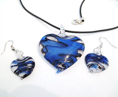 NP99 Blue Black Swirl Murano Glass Heart Necklace Earrings Set