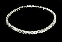 BR36 Sparkling Clear Crystal Stretch Sterling Silver Bracelet