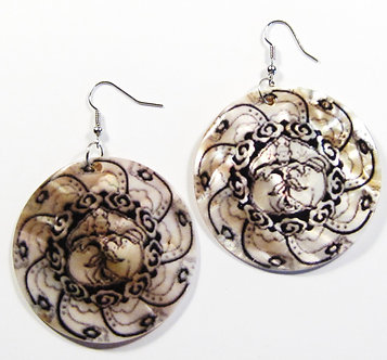 EA126 Unique Art Deco Pattern Shell Dangle Earrings