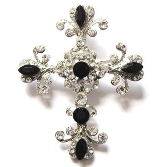 BP10 Stunning Black - Clear Crystal Paved Cross Brooch