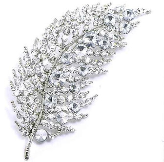 BP56 Clear Crystal Paved Celebrity Style Feather Brooch
