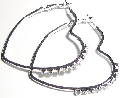 EA99 Heart Shape Silver Hoop CZ Earrings