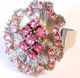 OS08 Pink Crystal Anti Tarnish Silver Cocktail Ring