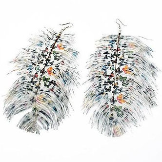 EA402 Oversized Butterfly Motif Black White Feather Dangle Earrings