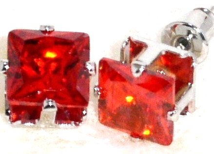 EA205 RED Faceted Square CZ Stud Post Earrings