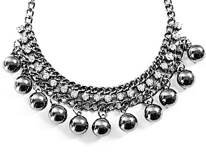 NP54 Gunmetal Balls Beads Chain Clear CZ Chunky Necklace