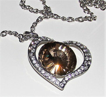 NP72 CZ Pave Heart Chunky Necklace Sweater Pendant
