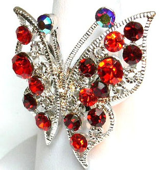 OS05 Red Crystal Butterfly Anti Tarnish Cocktail Ring