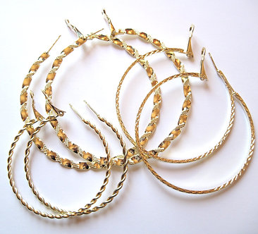 EA84 Three Pairs Assorted Twisted Rope Gold Hoop Earrings Set