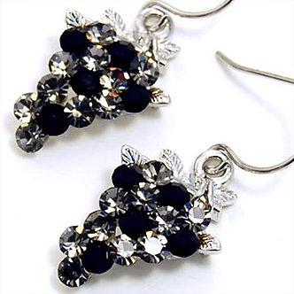 EA66 Black Clear Swarovski Crystal Grape Dangle Earrings