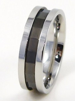 SSR4910 High Polish Black Angled Cut Stainless Steel Ring