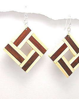 EA72 Unique Exotic Wood Dangle Earrings