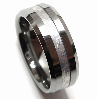 TU3107 Silver Carbon Fiber Tungsten Carbide Ring