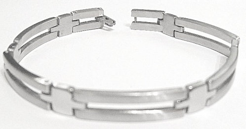 SSB10 Shiny and Matte Finish Stainless Steel Bracelet