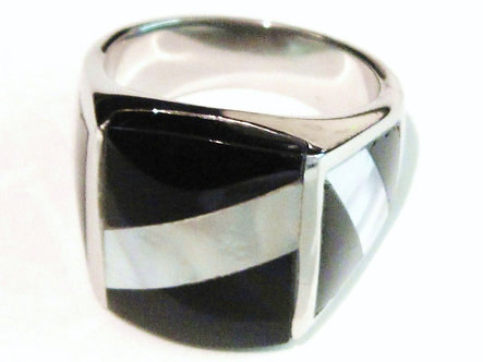 SSR5226 Black Onyx Mother of Pearl Stainless Steel Ring