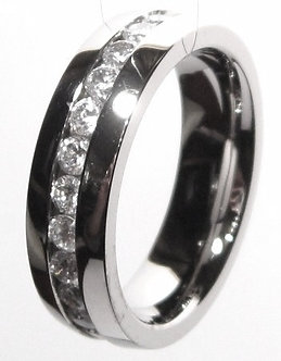 SSR1161 CZ Eternity High Polish Stainless Steel Ring,