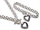 NP67 Silver Heart Heavy Chain Toggle Necklace and Bracelet Set