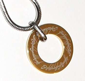 NP3002 Double-sided Gold Lord of the Rings Tungsten Pendant