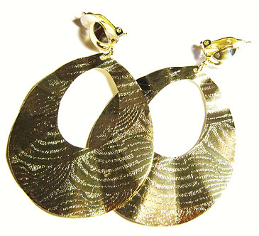 EA100 Wavy Textured Gold Clip-On Earrings 3 Inches