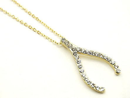 NP25 Good Luck Crystal Wishbone 14K Gold Plated Chain Pendant