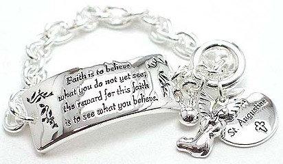 """BR57 Inspirational FAITH Bracelet Angel Charm Inscribed """"Faith…"""