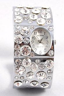 WW123 Crystal Pave Chunky Cuff Watch
