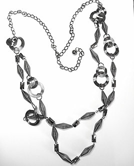 NP939 Twisted Circles and Tubes Chain Link Sweater Necklace