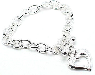 BR51 Hollow Heart Charm Rhodium Bracelet
