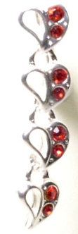 BJ28 Reversed Red Crystal Heart Belly Ring
