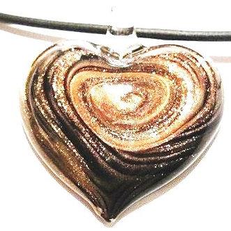 NP123 Murano Glass Black Copper Swirl Heart Pendant Necklace