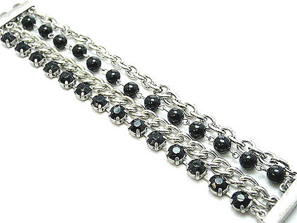 BR68 Black CZ Beads Row Chains Magnetic Bracelet