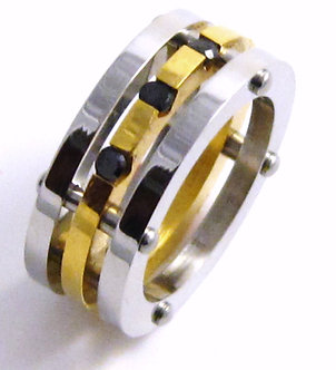 SSR5107 Unisex 9mm Gold Stainless Steel Ring Black CZ