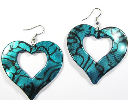 EA138 Aqua 2.25 inch Wavy Heart Shape Dangle Earrings