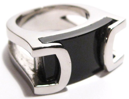 SSR2690 High Polish Onyx Chunky Stainless Steel Ring